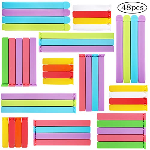 BAKHUK 48pcs Sealing Clips for Food  Bag Clips in 6 Sizes 28/36/44/56/64/72inch