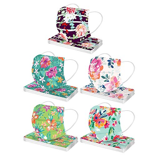 50PC Floral Disposable Face Mask For Adults Women With Designs Cute Flower Print Paper Masks Full Face Cover Protections (Q)
