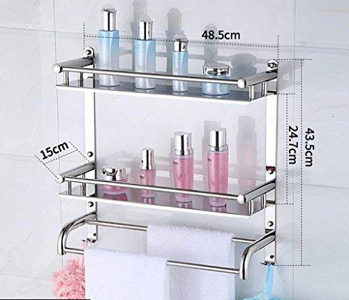 M-J Bad Racks Badkamer Opslag Rack 2 Laag RVS Badkamer Stijlvolle Eenvoud Handdoek Rack Cosmetische Opslag Rack (Kleur: A, Maat: 40 Cm), b, 50cm