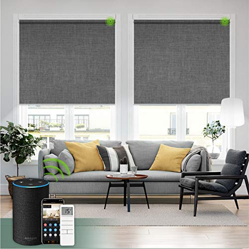 Yoolax Motorized Blind for Window with Remote Control Smart Blind Shade Compatible with Alexa Motorized Roller Shade Blackout Battery Solar Powered Blind Custom up 98''W X 138''H (Fabric-Dark Grey)