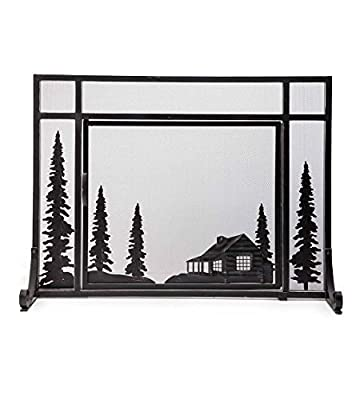 """Plow & Hearth Steel and Metal Mesh Fireplace Screen with Door, 44"""" W x 12.5"""" D x 33"""" H, Black by Plow & Hearth"""