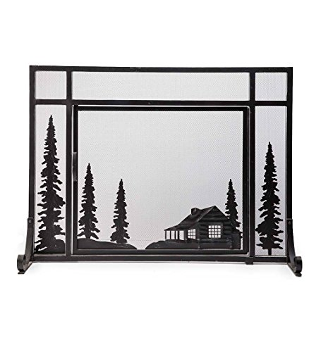 Plow & Hearth Steel and Metal Mesh Fireplace Screen with Door, 44' W x 12.5' D x 33' H, Black