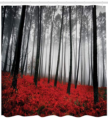 """Ambesonne Forest Shower Curtain, Mystical Fantasy Woodland Under Heavy Fog Tall Trees Bushes Contrast Colors, Cloth Fabric Bathroom Decor Set with Hooks, 70"""" Long, Black Red Pale Grey"""