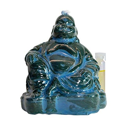 Candle Art Vela Buda, Vela esotérica. Aporta Equilibrio Emocional, Paz Espiritual. Color Azul, Cera de Abeja con Plantas, Ritualizada. Medidas. Alto: 11 cm. Peso: 0.235 Kg