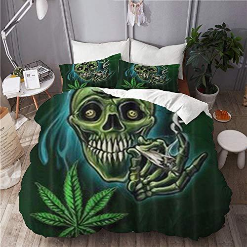 XINGAKA Funda nórdica Estampada,Hoja de Marihuana Weed Cool Skull,Conjunto de Ropa de Cama de poliéster de 3 Piezas 135 * 200cm