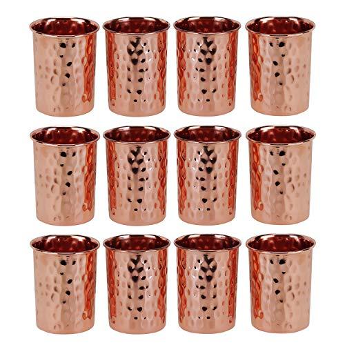 Zap Impex Vasos martillados de cobre, cristal, cobre puro, retención ayurvédica, juego...