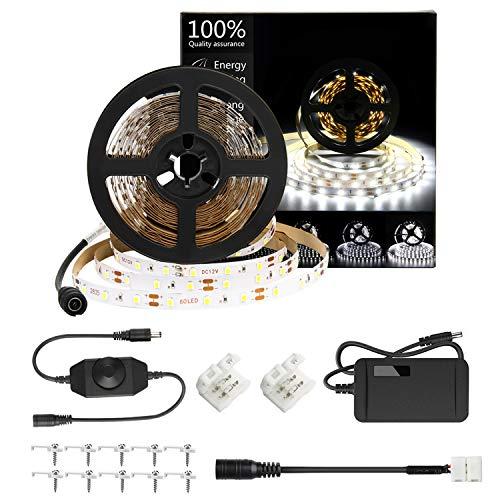 HOMELYLIFE Daylight White LED Strip Lights Kit, 6500K Super Brightness Dimmable 300 SMD2835 LEDs, 16.4FT Non-Waterproof 12v LED Light Strip, LED Ribbon for Room, Vanity Mirror, DIY Decoration