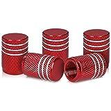 kwmobile Juego de Tapas Compatible con válvulas - Tapas de Metal para válvula de neumáticos de Coche y Bicicleta en Rojo / Plata