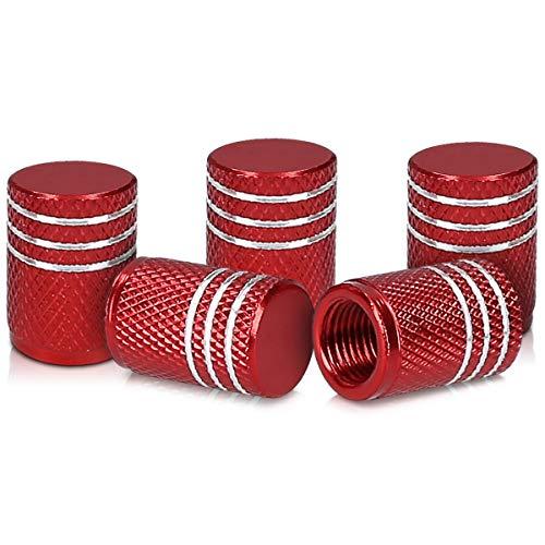 kwmobile Juego de Tapas compatibles con válvulas - Tapas de Metal para válvula de neumáticos de Coche y Bicicleta en Rojo/Plata