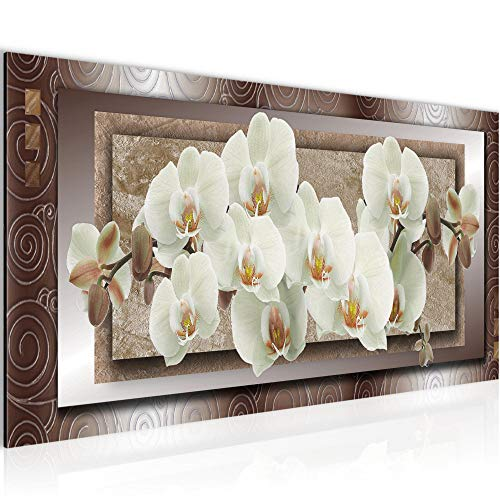 Wandbilder Blumen Orchidee 1 Teilig Modern Vlies Leinwand Wohnzimmer Flur Abstrakt Beige Braun 205412a