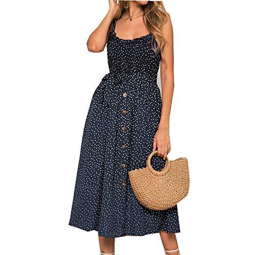 x8jdieu3 Sommer Urban Leisure Hedging High Waist Bedruckte Nähte Hosenträger Rüschen Wave Point Kleid