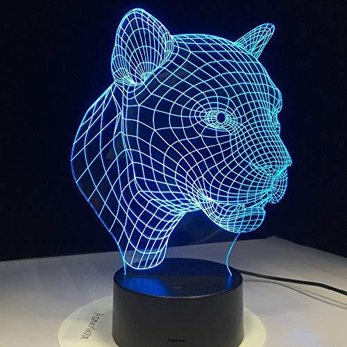 Cartoon Leopard Tier Familie Halloween Ferienschule 3D LED Nachtlicht Tischlampe Nachtdekoration Kinder Geschenk