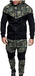 WOCACHI Mens Tracksuit 2PC Set Patchwork Sweatshirt Jogger Sweatpants Solid Hooded Sports Suit