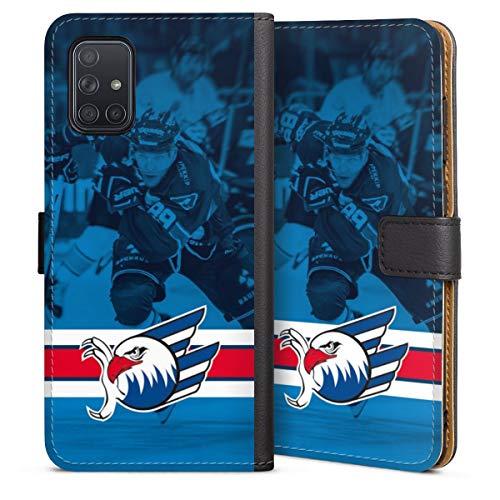 DeinDesign Klapphülle kompatibel mit Samsung Galaxy A71 Handyhülle aus Leder schwarz Flip Case Eishockey Logo Adler Mannheim