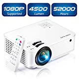 Mini Projector [2020 Updated], Projector 1080P Supported, 4500 Lux 210' Display with 52,000 Hrs LED Movie Projector Compatible with Phone,Computer,Laptop,USB,HDMI,VGA-Home,Office,Outdoor Entertainment