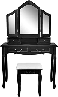 QCUTEP Makeup Dressing Table Set, Vanity Set with Tri-Folding Mirror, 4 Drawers Vanity Table with Cushioned Stool for Girls Women Bedroom Furniture Black