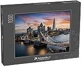 fotopuzzle.de Puzzle 1000 Teile Luftaufnahme der beleuchteten Tower Bridge und der Skyline von...