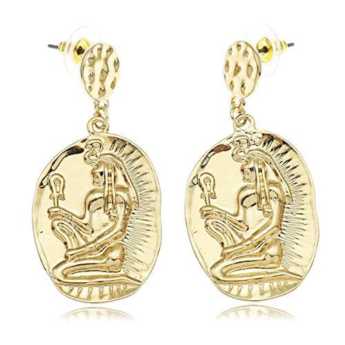 nobranded Egipcia Ankh Diosa ISIS Serpiente Dangle Oreja Studs Pendientes Oro Renacimiento Traje de Halloween Art Deco joyería