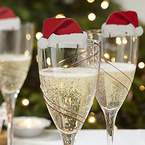 FGJHGH 10 Teile/los Weihnachtsschmuck Für Heimtisch Tischkarten Weihnachten Weihnachtsmütze Weinglas Dekoration Neujahr Party Supplies