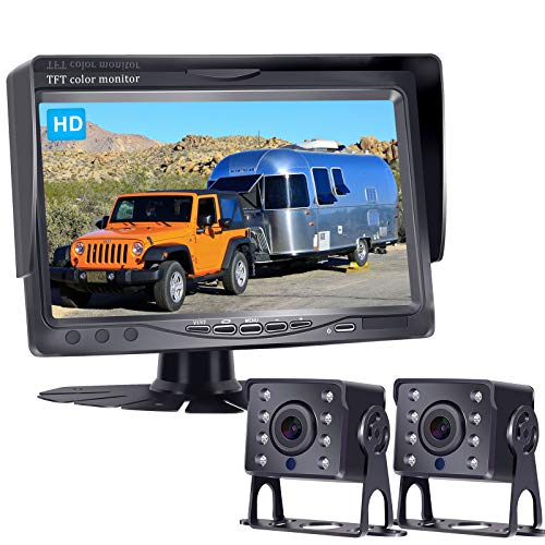 Rohent HD Dual Backup Camera Kit 7 Inch Monitor Hitch Driving Rear View High-Speed Observation System for RVs,Trucks,Trailers, Campers,5th Wheels Super Night Vision Waterproof IP69K -R4