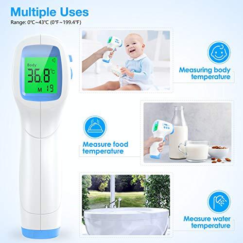 IDOIT Termometro febbre infrarossi Termoscanner professionale per febbre Misuratore temperatura corporea laser Termometro digitale Memorizza 99 letture per adulti neonati bambini