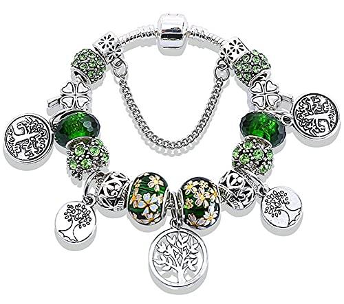CHXISHOP Árbol de la Vida Pulsera Verde Mil Cara Cristal Gran Agujero Perlas Pintadas Hoja Flor Pulsera (19cm-21cm) Verde - 21cm
