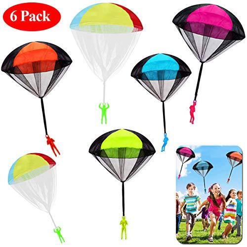 JWTOYZ Fallschirm Spielzeug Kinder, 6 Stück Fallschirm Kinder Fallschirmspringer Spielzeug, Outdoor Flugspielzeug für Kinder