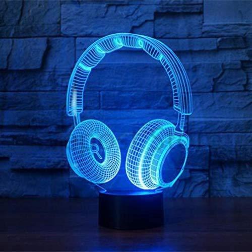 Led nachtlampje 3D Illusie nachtlampje koptelefoon vorm tafellamp 7 kleuren veranderen slapen verlichting met Smart Touch gesp schattig cadeau