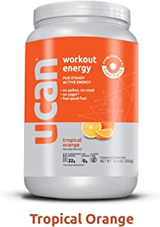 UCAN Pre Workout Energy Powder with SuperStarch - Vegan, Keto Friendly, Sugar and Gluten Free - No GI Distress, Maximum Endurance, No Bloating (12 Servings, Tropical Orange)