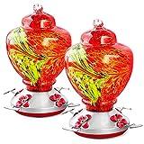 eWonLife Hummingbird Feeder Glass with Perch, 2 Pack Hummingbird...