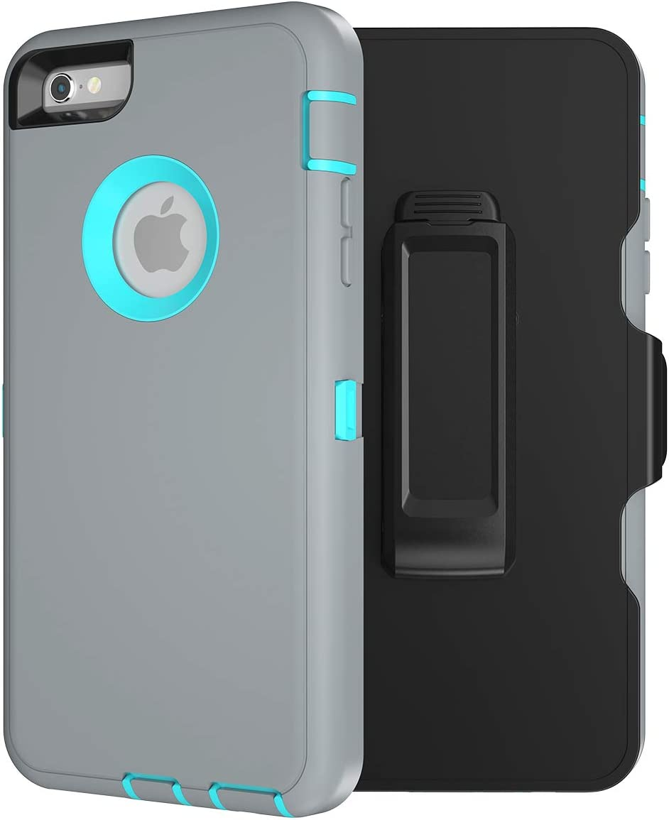 iPhone 6S Heavy Duty Defense Case, High-Grade TPU and PC Protection- Hybrid Bumper Cover with Screen Protector and 360 Degree Rotating Belt Clip for Apple iPhone 6 / 6S (4.7 inch) - (Gray/Aqua Green)