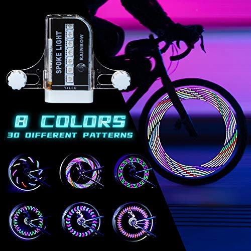 PRUNUS [Upgraded] LED Bike Wheel Light Waterproof Bicycle Spoke Light with Rechargeable Batteries Included for Safe Cycling Kids Girls Boys Adults Mountain Bike BMX Bike Folding Bike