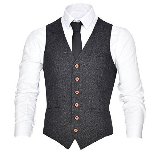 VOBOOM Men's V-Neck Suit Vest Casual Slim Fit Dress 6 Button Vest Waistcoat (Grey, Large)