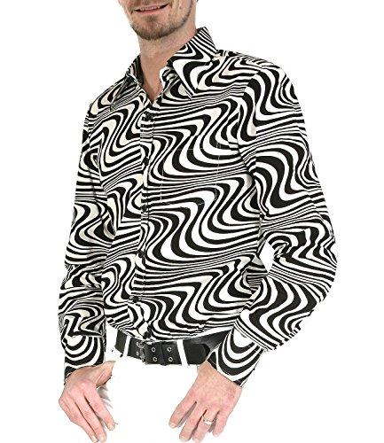 Chenaski 70er Jahre Retro Partyhemd schwarz cremeweiß Hippie Mode M