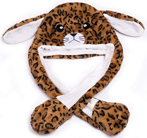 By Salti LED-Wackelohr Tiermütze Leopard Gepard aus Plüsch für Kinder und Erwachsene