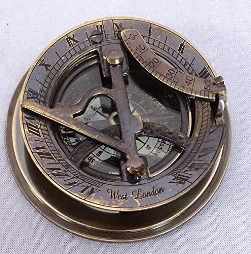 Linoows Sundial kompas, maritieme zonneklokken kompas in gegraveerd oud messing doos