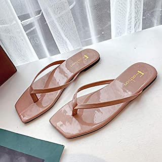Haiyu flip flops for women Flip-Flop Female Flat With Square Head Pinch Slippers Female Summer Wear Holiday Wind And Slippers Women'S Shoes