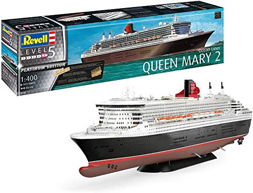 Revell 05199 Platinum Edition Queen Mary 2 mit Fotoätzteilen, Metallteilen und selbstklebenden Holzdeck, 85cm originalgetreuer Modellbausatz für Experten, unlackiert, 1/400