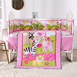 Wowelife Pink Nursery Bedding 7 Piece Cats, Zebra and Surrounded with Flowers and Butterfly(Pink B)