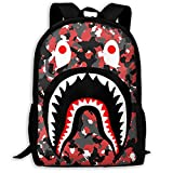 SWEET TANG Bloodshot Red Black Camouflage Camo Bape Blood Shark Monster Basic Backpack Multipurpose Daypack Water Resistant Rucksack for Sports, Outdoors, Running, Travel, Hiking Anti-Theft Backpack