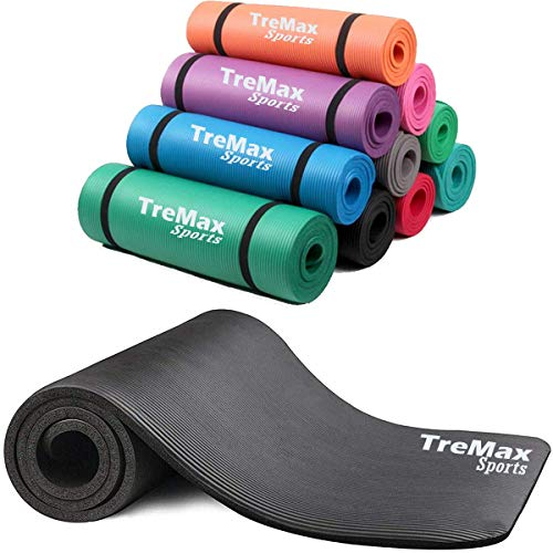 TreMax Yoga Mat NBR 15mm, Non Slip Padded Exercise Mat with Carry Strap for Home Gym Yoga, Pilates, and Gymnastics (Black)