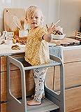 Torre de Aprendizaje Montessori - Plataforma de Madera para Trepar en la Cocina para Bebés y Niños - Torres Ajustables para Encimeras y Mesa - Taburete Seguro y Duradero - Learning Tower - Gris