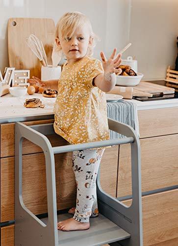 Sweet Home from wood Sgabello Montessoriano con Scala Regolabile - Torre Montessoriana in Compensato di Betulla per Bambini - Scaletta a 3 Livelli per Piano Cucina, Lavandino - capacità 50kg (Grigio)