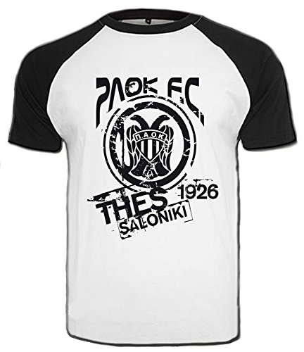 PAOK Thessaloniki T-Shirt Griechenland Hellas Saloniki Shirt Greece (XL, Weiß/Schwarz)