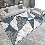 Alfombra alfombras de Pasillo Lavable Alfombra de diseño geométrico Blanco Gris Azul Resistente a la decoloración Decoracion despacho alfombras habitacion Juvenil 50*120CM