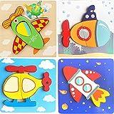 LESIXW Puzzle de Madera-Tridimensional Puzzle Baby Educación temprana Dibujos Animados educativos Puzzle, 5 Piezas, Adecuado para bebé de más de 36 Meses de Edad,Design 1