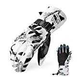 Ski Gloves, Waterproof Snow Gloves -30℉ Winter Gloves for Cold Weather Touchscreen Snowboard Gloves Warm for Men Women (White, X-Large)