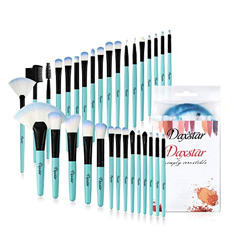 Blue Makeup Brushes, 32Pcs Essential Eyeshadow Eyeliner Face Powder Cream Liquid Cosmetic Brushes Kits Perfect gift with Cruelty-Free Synthetic Fiber Bristles
