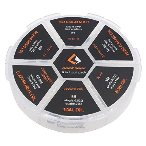 GeekVape 6 in 1 Coil Pack, Box bestehend aus insgesamt 20 Wicklungen für Ihre e-Zigarette, 20 Stück
