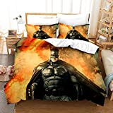 Batman Duvet Cover Set for Teen Boys Full Size Bed Soft Microfiber Hero The Dark Knight Bedding Sets,1 Duvet Cover +2 Pillow Shams(No Comforter and Sheet)